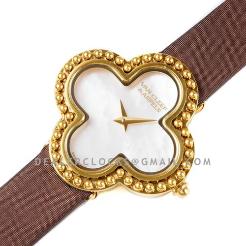 Alhambra Watch 30.2mm MOP Dial in Yellow Gold in Brown Strap