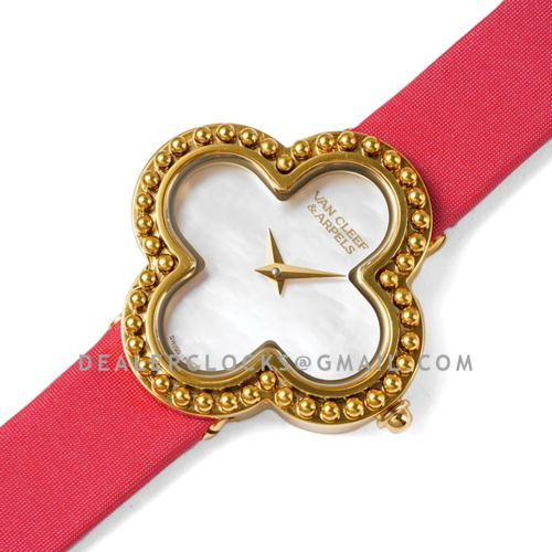 Alhambra Watch 30.2mm MOP Dial in Yellow Gold in Red Strap