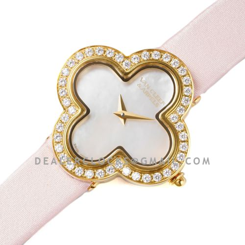 Alhambra Watch 30.2mm MOP Dial in Yellow Gold with Diamond in Pink Strap