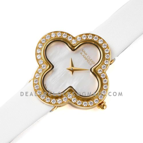Alhambra Watch 30.2mm MOP Dial in Yellow Gold with Diamond in White Strap