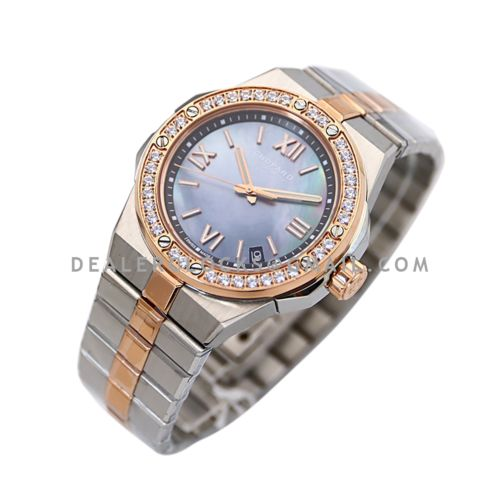 Alpine Eagle Large 41mm MOP Dial with Diamond Bezel in Steel/Rose Gold