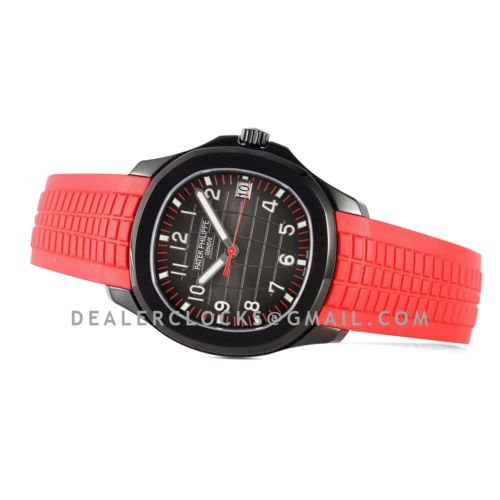 Aquanaut 5167A 'Black Venom Limited Edition' Black Dial on Red Rubber Strap