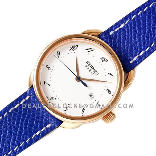 Arceau 32mm White Dial in Rose Gold on Blue Epsom Leather Strap