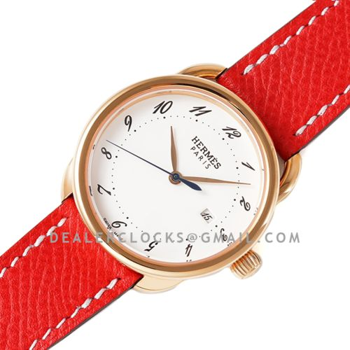 Arceau 32mm White Dial in Rose Gold on Red Epsom Leather Strap
