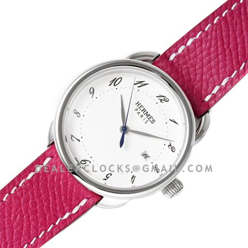 Arceau 32mm White Dial in Steel on Violet Epsom Leather Strap