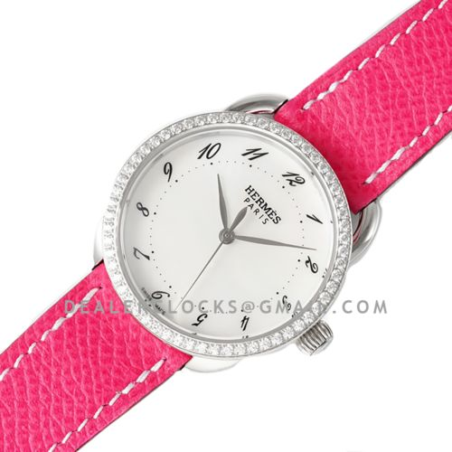 Arceau 32mm White Dial in Steel with Diamond Bezel on Pink Epsom Leather Strap
