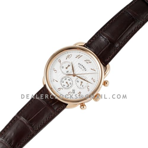 Arceau Chronographe 43 White Dial in Rose Gold on Brown Leather Strap