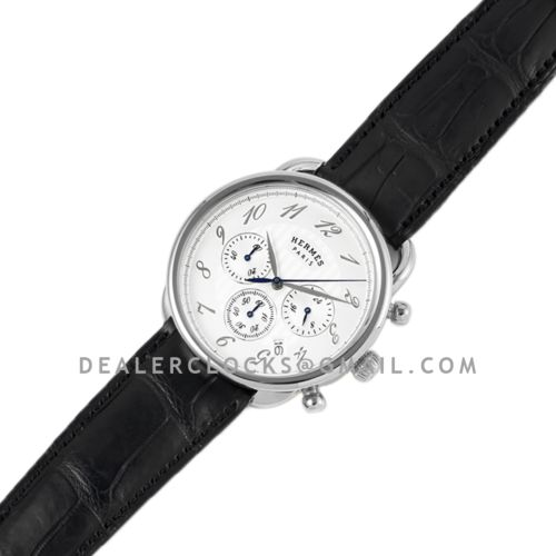 Arceau Chronographe 43 White Dial in Steel on Black Leather Strap