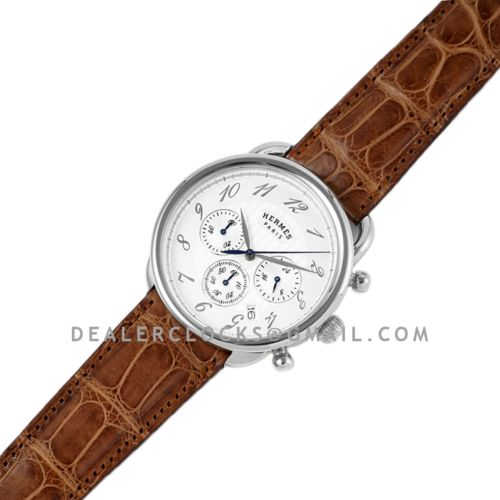 Arceau Chronographe 43 White Dial in Steel on Brown Leather Strap