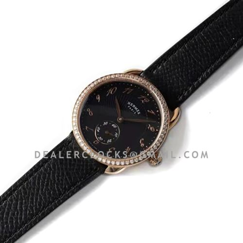 Arceau Petite Black Dial in Rose Gold with Diamond Bezel on Black Epsom Leather Strap