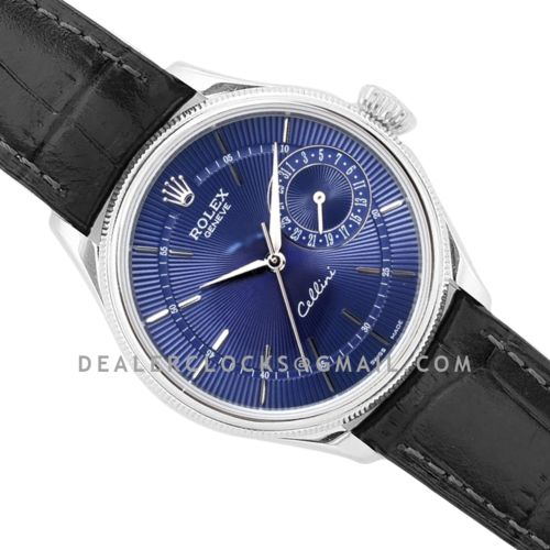 Cellini Date 50519 Blue Dial in White Gold