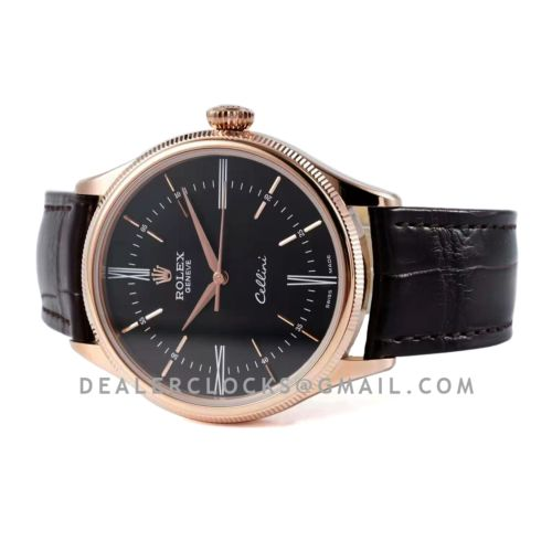 Cellini Time 50509 Black Dial with Roman Marker in Rose Gold