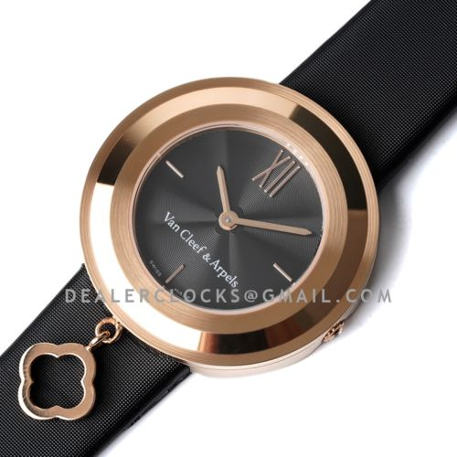 Charms Watch 32m Black Dial in Rose Gold on Black Strap