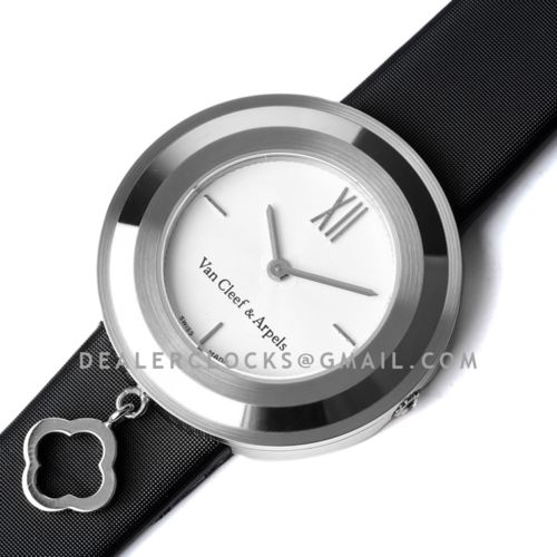 Charms Watch 32m White Dial in Steel on Black Strap