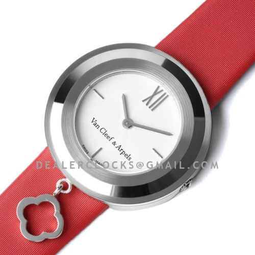 Charms Watch 32m White Dial in Steel on Red Strap