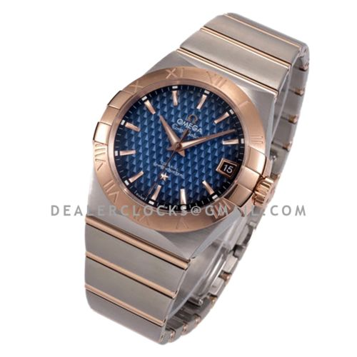 Constellation Co-Axial Chronometer 38mm Blue Texture Dial in Steel and Red Gold