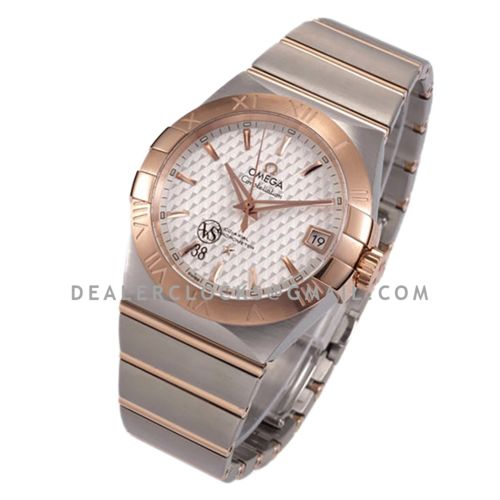 Constellation Co-Axial Chronometer 38mm White Texture Dial in Steel and Red Gold