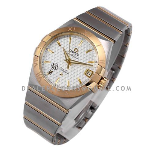 Constellation Co-Axial Chronometer 38mm White Texture Dial in Steel and Yellow Gold