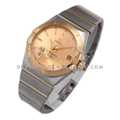 Constellation Co-Axial Chronometer 38mm Yellow Dial in Steel and Yellow Gold