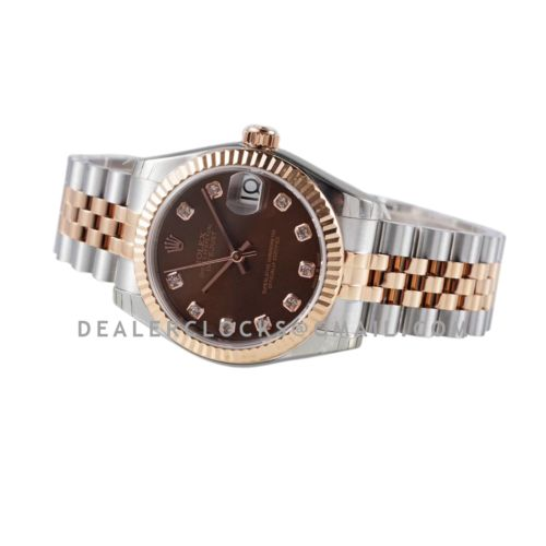 Datejust 31 278271 Chocolate Dial Diamond Markers in Everose Gold/Steel