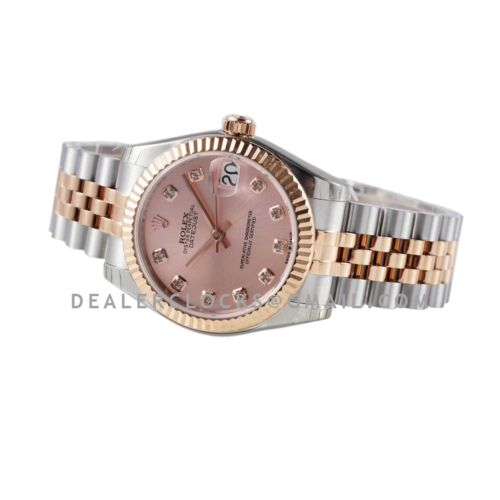 Datejust 31 278271 Rose Dial Diamond Markers in Everose Gold/Steel