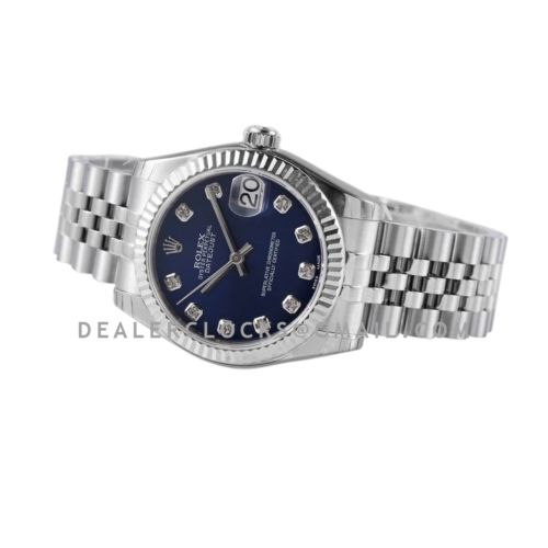 Datejust 31 278274 Blue Dial Diamond Markers in Steel