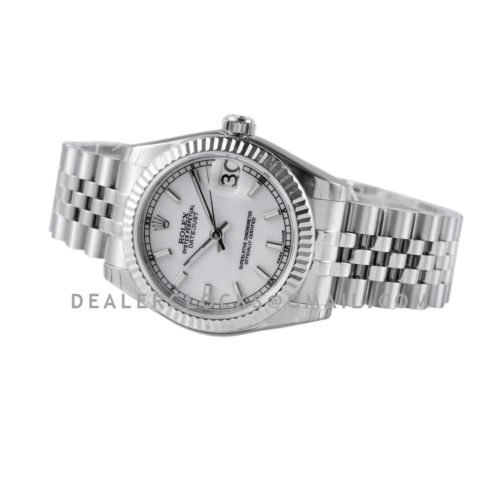Datejust 31 278274 White Dial Stick Markers in Steel