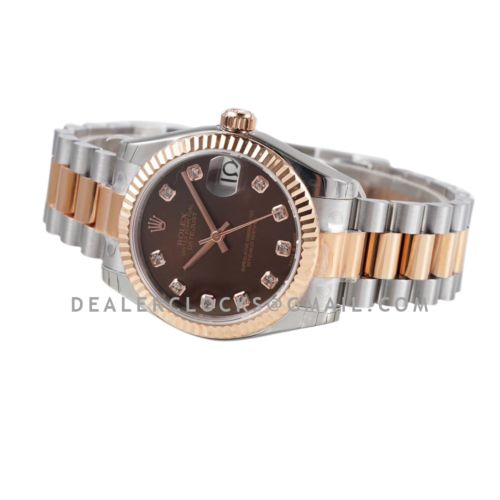 Datejust 31 Chocolate Dial Diamond Markers in Everose Gold/Steel on President Bracelet