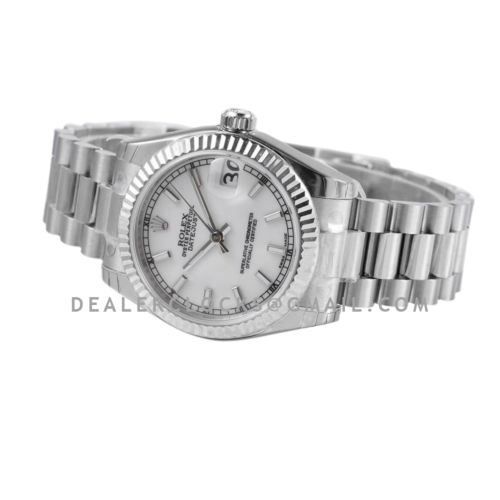 Datejust 31 White Dial Stick Markers in Steel on President Bracelet