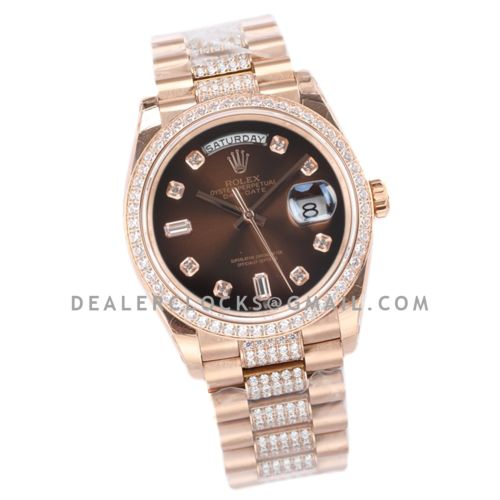 Day-Date 36 128345RBR Brown Dial with Diamond Bezel in Everose Gold