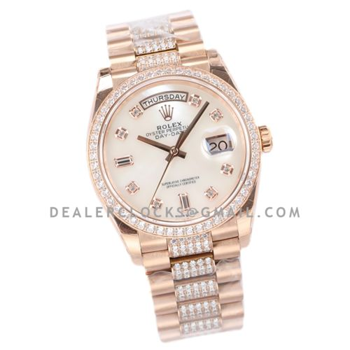 Day-Date 36 128345RBR MOP Dial with Diamond Bezel in Everose Gold