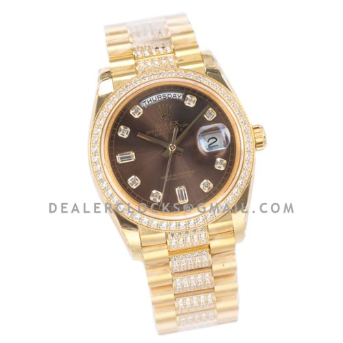 Day-Date 36 128348RBR Brown Dial with Diamond Bezel in Yellow Gold