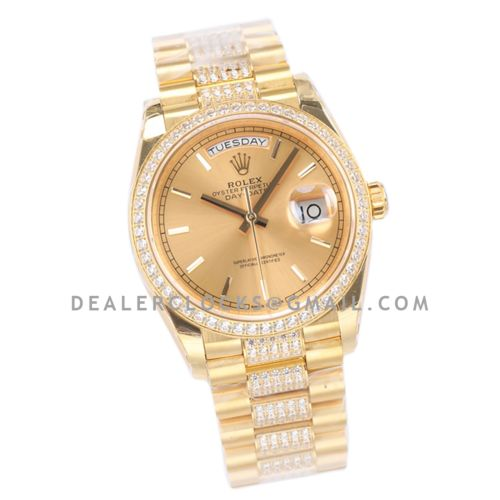Day-Date 36 128348RBR Champagne Dial with Diamond Bezel in Yellow Gold