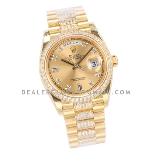 Day-Date 36 128348RBR Champagne Dial with Diamond Markers and Bezel in Yellow Gold