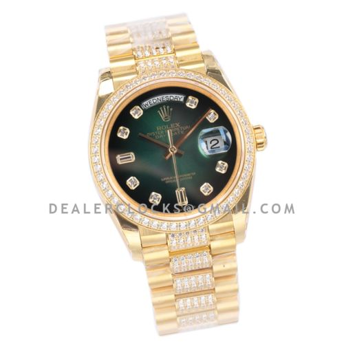 Day-Date 36 128348RBR Green Dial with Diamond Bezel in Yellow Gold
