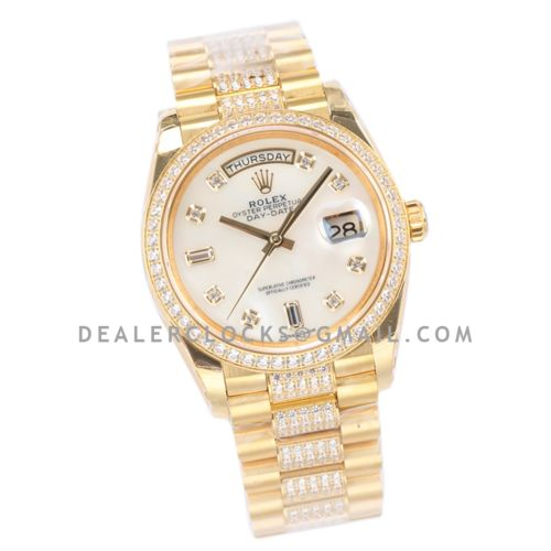 Day-Date 36 128348RBR MOP Dial with Diamond Bezel in Yellow Gold