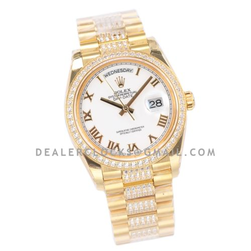 Day-Date 36 128348RBR White Dial with Diamond Bezel in Yellow Gold