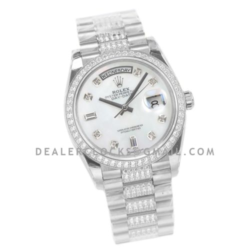 Day-Date 36 128349RBR MOP Dial with Diamond Bezel in White Gold