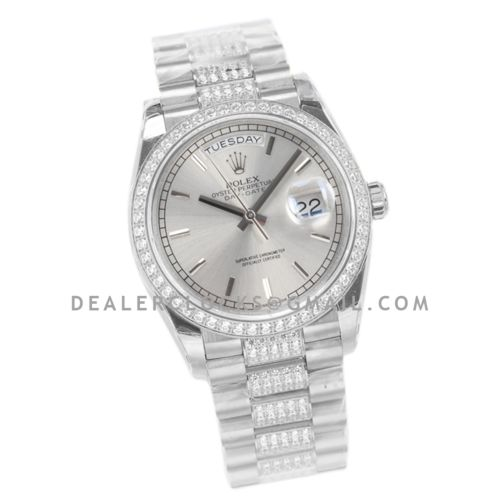 Day-Date 36 128349RBR Silver Dial with Diamond Bezel in White Gold