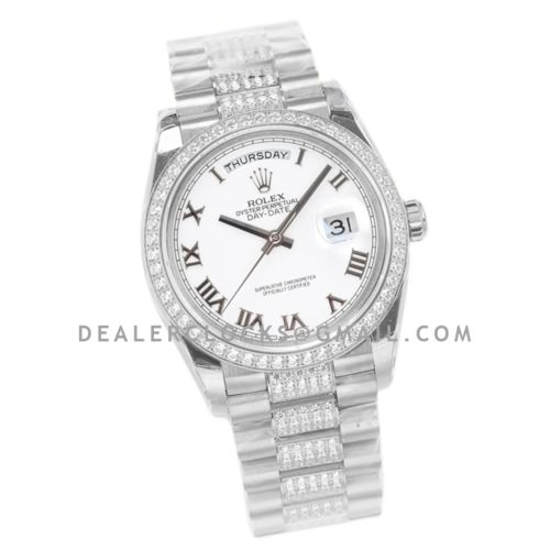 Day-Date 36 128349RBR White Dial with Diamond Bezel in White Gold