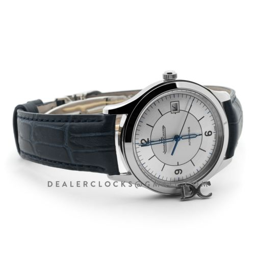 Master Control Date Silver Dial in Steel on Blue Leather Strap