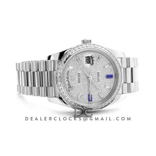 Day-Date 40 Platinum Diamond bezel and Paved Dial 228396
