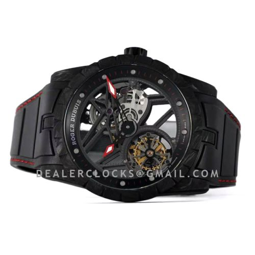 Excalibur Carbon Flying Tourbillon on Black Rubber Strap with Red Stitching