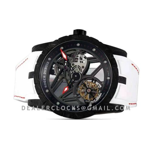 Excalibur Carbon Flying Tourbillon on White Rubber Strap with Red Stitching
