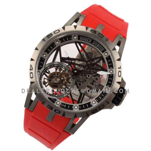 Excalibur Spider Skeleton Flying Tourbillon with Red Rubber Strap