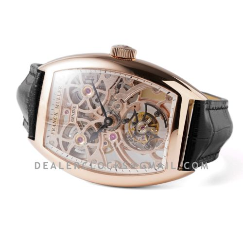 Fast Tourbillon 8889 in Rose Gold on Black Leather Strap