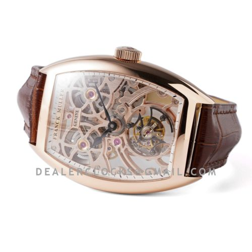 Fast Tourbillon 8889 in Rose Gold on Brown Leather Strap