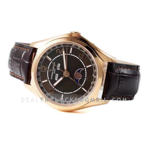 Fiftysix Complete Calendar Brown Dial in Pink Gold Ref: 4000E/000R-B065