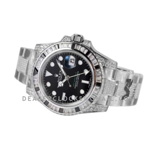 GMT Master II 116710 Black Dial in Steel with Paved Black and White Diamond Bezel