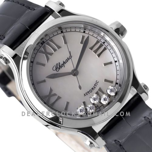 Happy Sport Automatic 33mm MOP Dial in Steel on Black Leather Strap